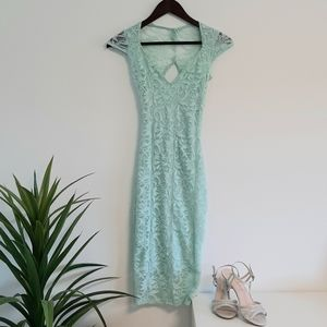 Mint lace fitted dress